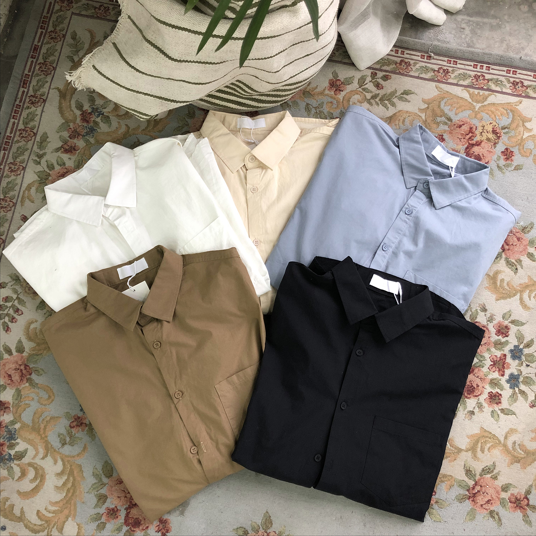 小明bene 秋季衬衫男韩版ins潮流复古宽松薄款长袖百搭纯色衬衣