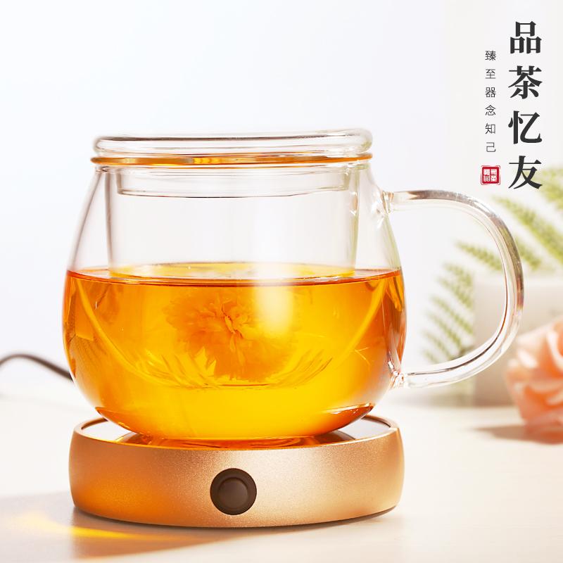 品茶忆友 玻璃杯花茶杯ins耐高温办公室家用带把手茶水分离泡茶杯