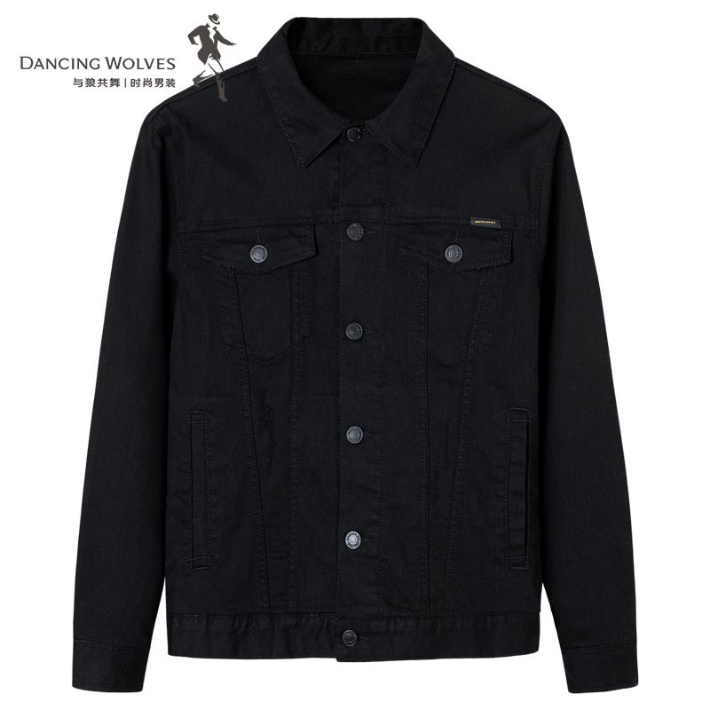 与狼共舞夹克春季新款黑色修身潮流工装男士春秋牛仔外套男装