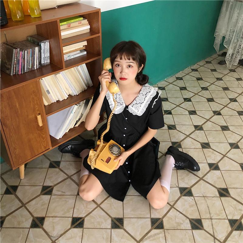 实拍实价~法式复古蕾丝领连衣裙 已检测-伊美服饰-