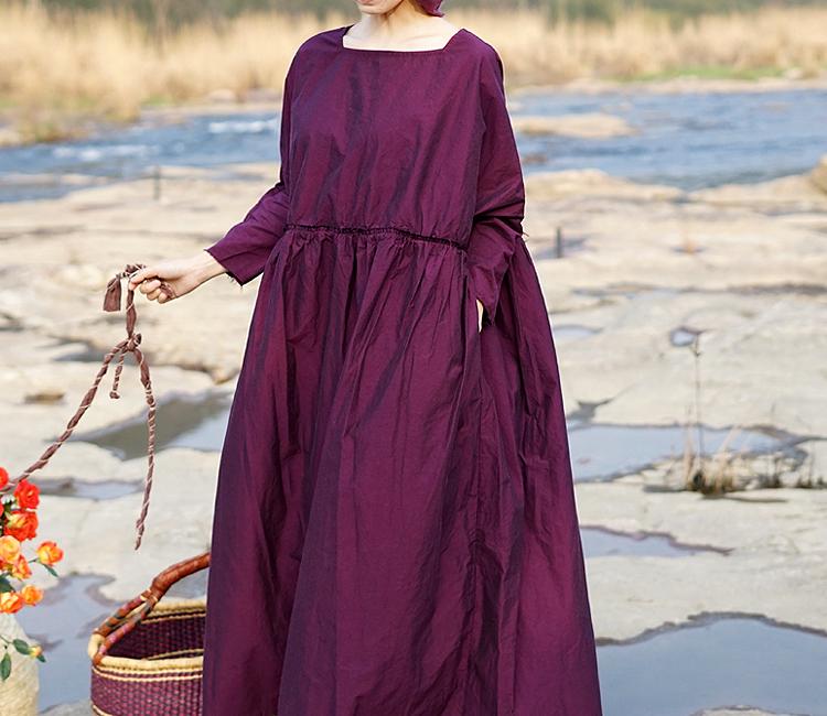 壹旧原著夏款梅紫红色精高密棉骨感方领腰部毛边超宽松连衣裙1613