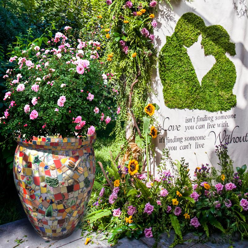 地中海风格欧式美式手绘特大号花缸绿植大花盆庭院落地陶瓷盆景