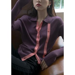 1313紫色拼色门襟羊毛长袖针织衫2020女秋修身显瘦复古小开衫外套图片