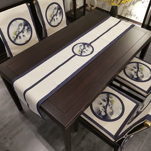 New Chinese style table flag tablecloth simple Zen tea table flag coffee table cloth cotton linen tea table dining table TV cabinet bed flag