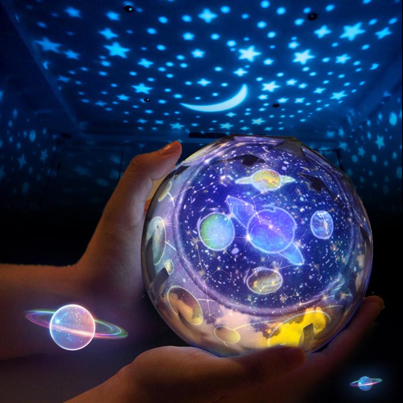 创意新年礼物星球宇宙星空灯调光LED旋转投影灯USB浪漫安睡小夜灯