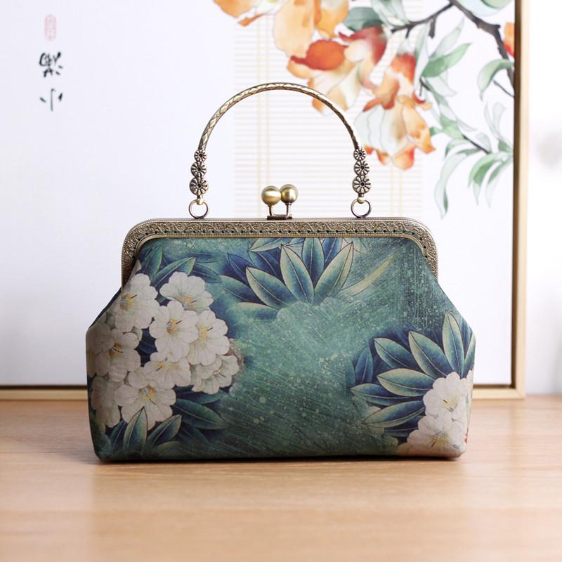 阿呆手工旗袍包包中国风百搭旗袍手提包优雅口金包中式配旗袍的包