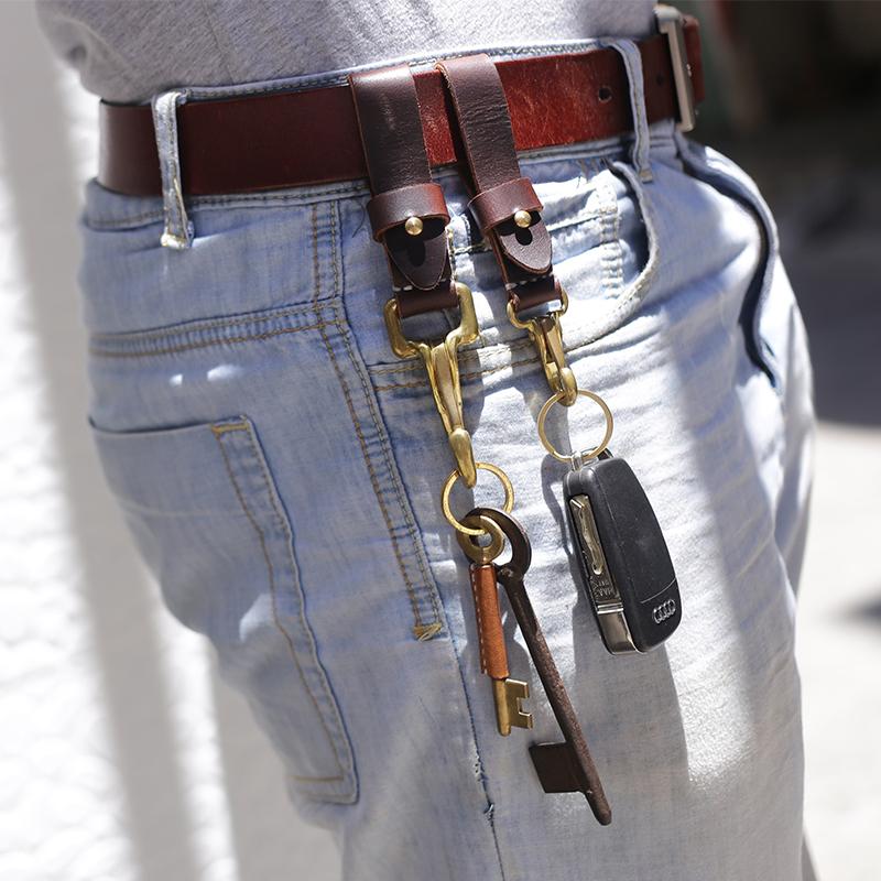 两针一线钥匙扣腰挂汽车挂件头层真皮男女情侣一对纯铜多功能高档