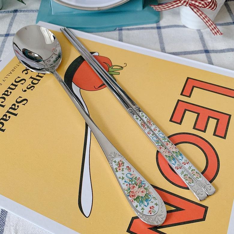 韩国进口SMF英式玫瑰花束 304不锈钢勺子筷子 实心扁筷子勺子套装