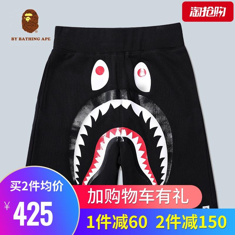 鲨鱼短裤男士纯棉ape五分沙滩短裤appe美高梅网址猿人头 ape0aape1bape0
