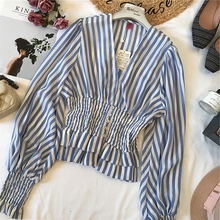陈米米 法gz2优雅 洋ng 条纹V领雪纺收腰灯笼袖衬衫显瘦上衣