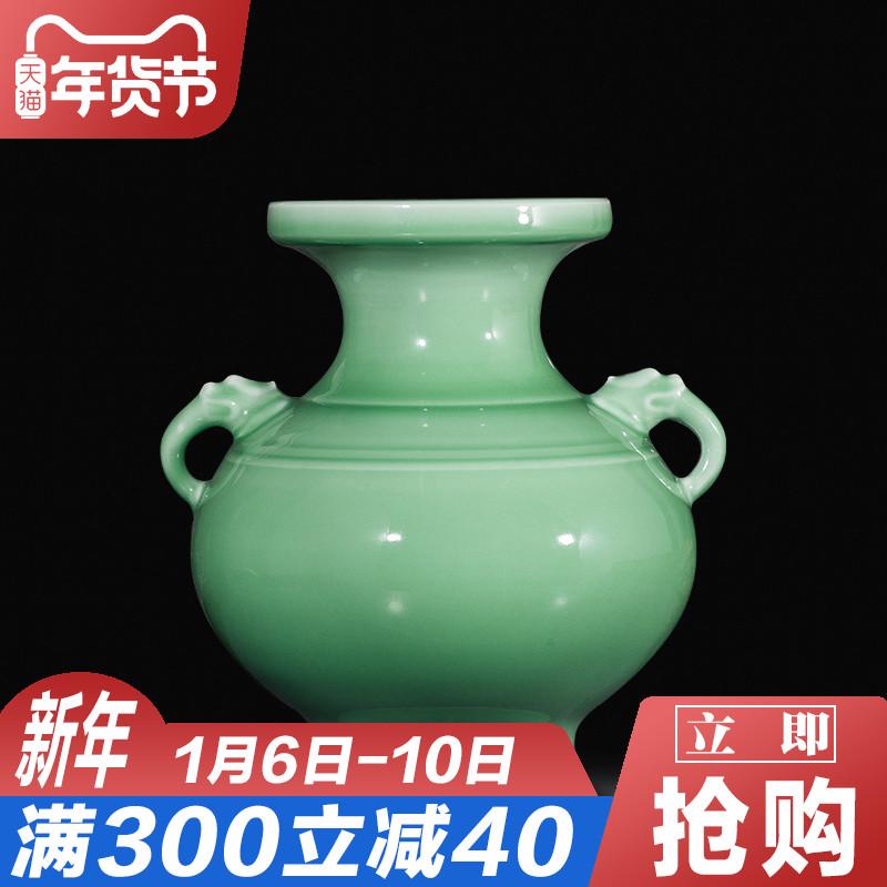 景德镇陶瓷器仿古花瓶手工镂刻影青客厅博古架酒柜装饰品家居摆件