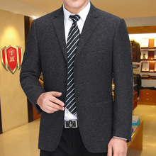 中老年男士宽松品牌西装外套商务休2k13三粒扣55件西服上衣