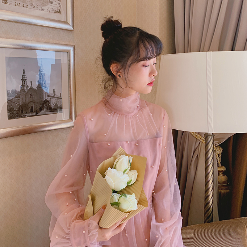 梅子熟了 文艺复古法式仙女裙钉珠高腰连衣裙女中长款春2020新款