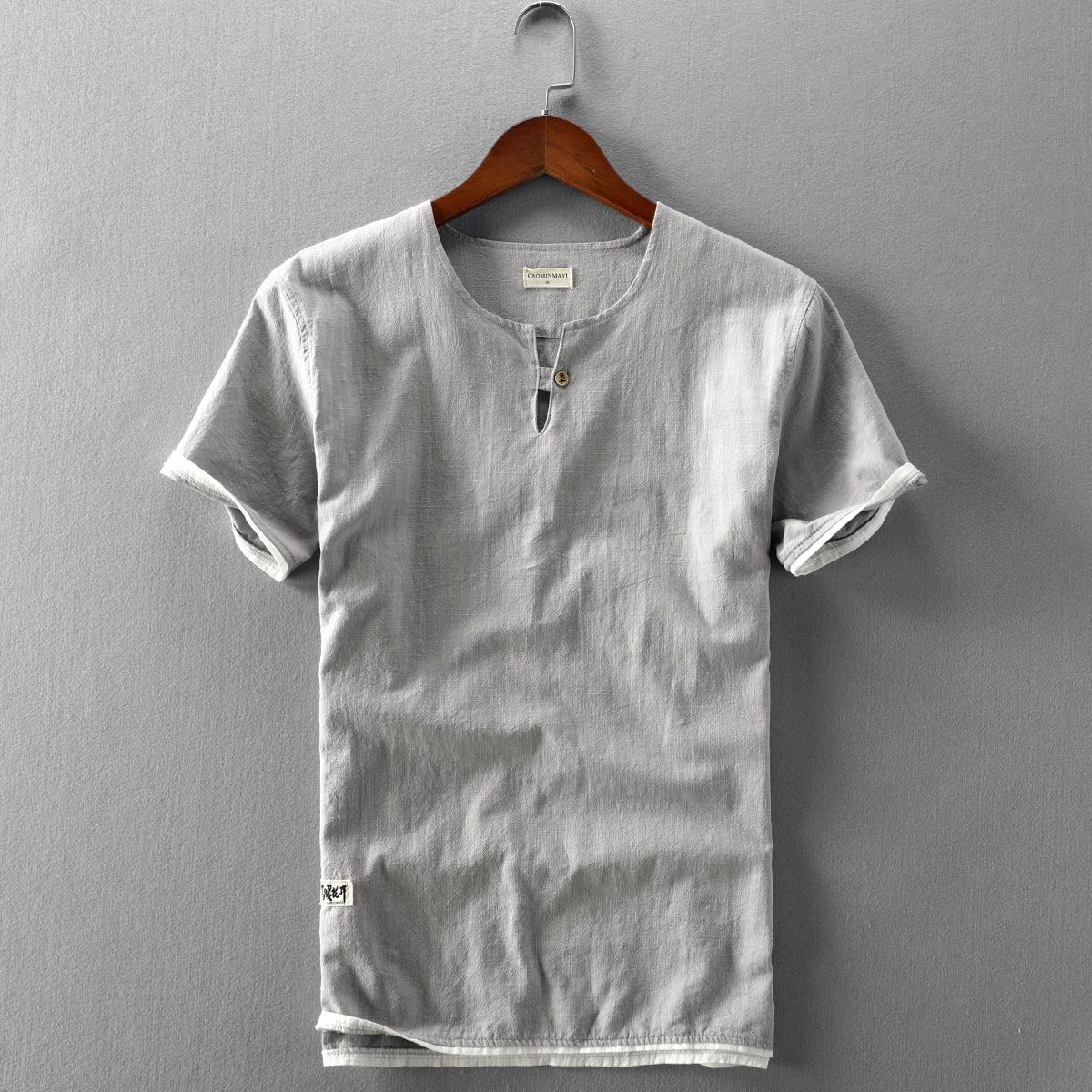 夏季男士新款休闲亚麻衬衫短袖套头纯色棉麻布拼接袖薄款水洗T恤