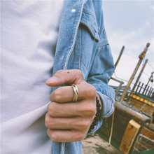 18AW7k1牌三色环k8男女镀金食指戒子钛钢不褪色百搭饰品指环
