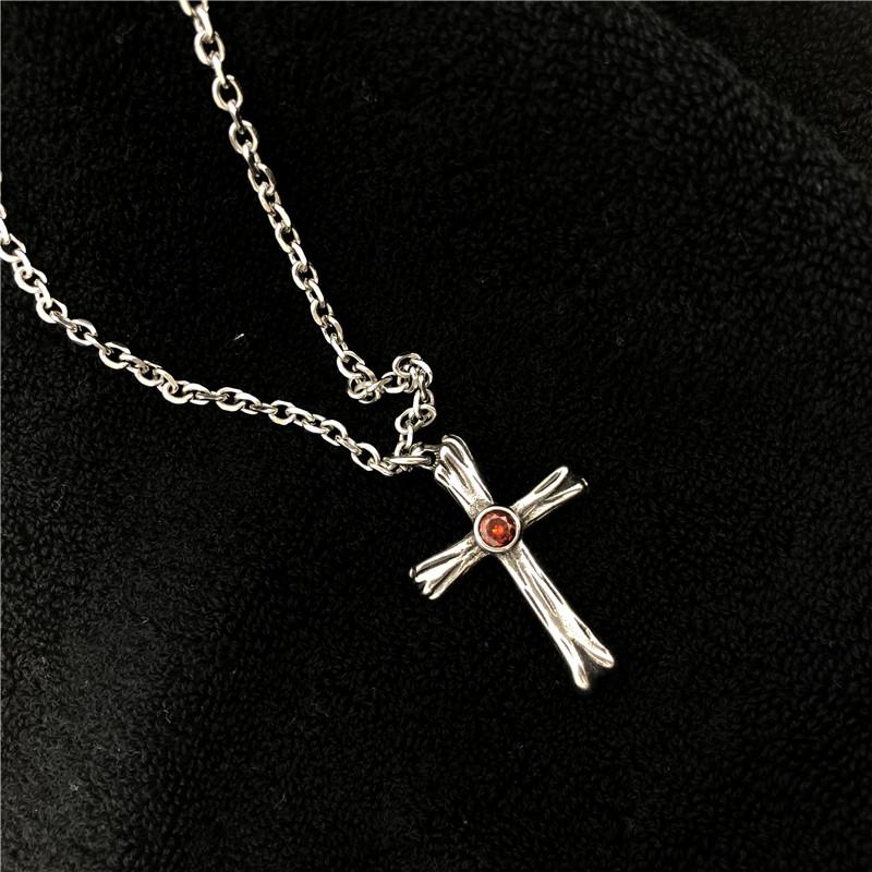 Ruby Cross Necklace红宝石十字架项链男女潮牌百搭时尚嘻哈吊坠