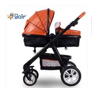 贝尔Bair皮质折叠婴儿手推车 高景观四轮避震可坐可躺婴儿车送礼