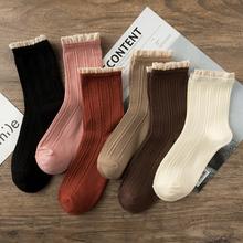 竹纤维蕾丝花边袜春秋式黑色袜er11女可爱ic棉中筒复古长袜