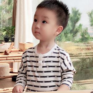 2018新款秋装薄款男童条纹长袖T恤儿童打底衫中小童自制纯棉上衣