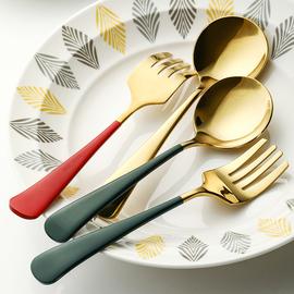 居家家304不锈钢勺子叉子北欧家用吃饭勺小汤匙长柄沙拉叉甜品勺