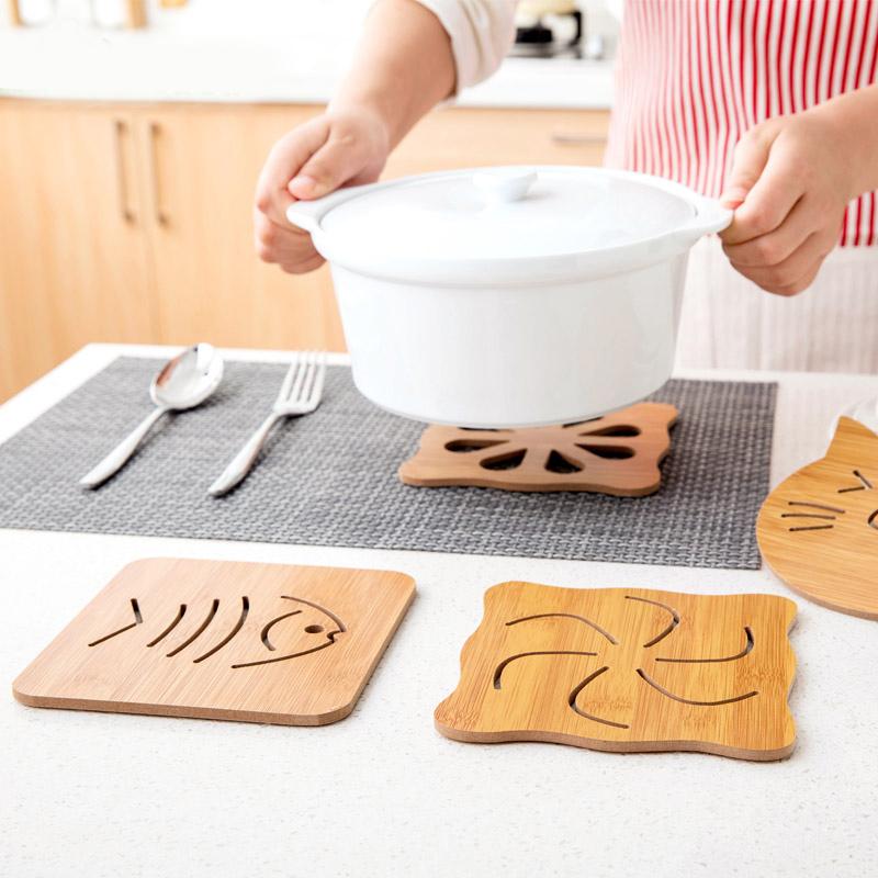 居家家木质卡通隔热垫餐桌垫防滑锅垫创意可爱垫子茶杯垫碗垫杯垫