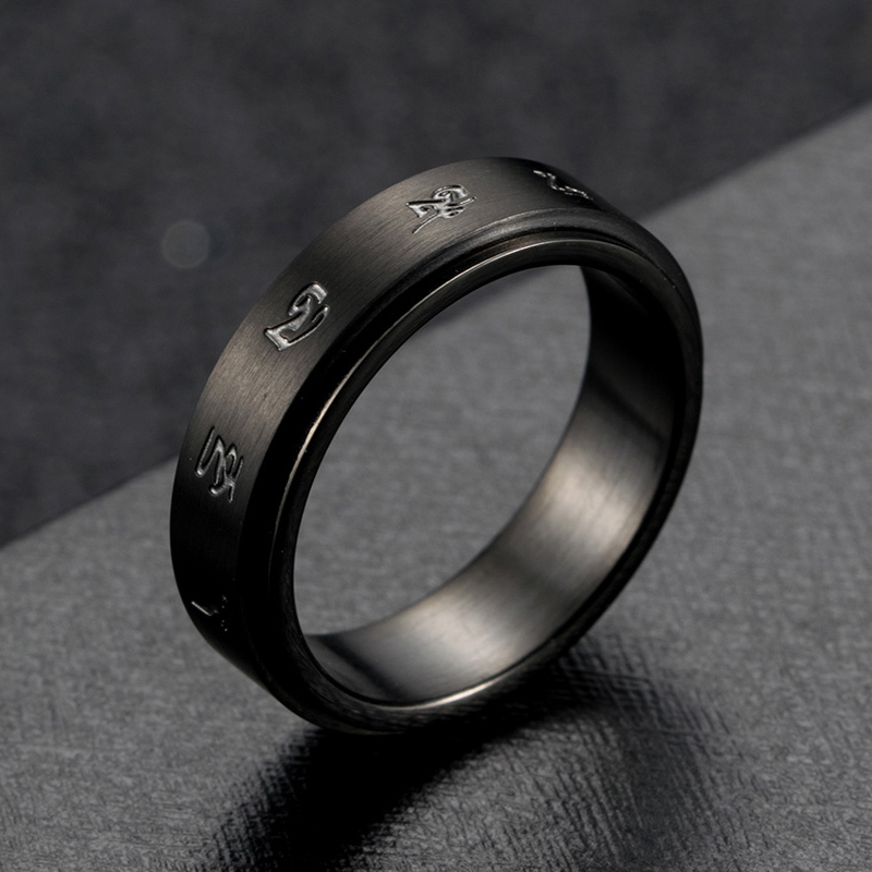 黑财神心咒招财戒指男士个性复古钛钢转动指环日韩潮人转运尾戒女