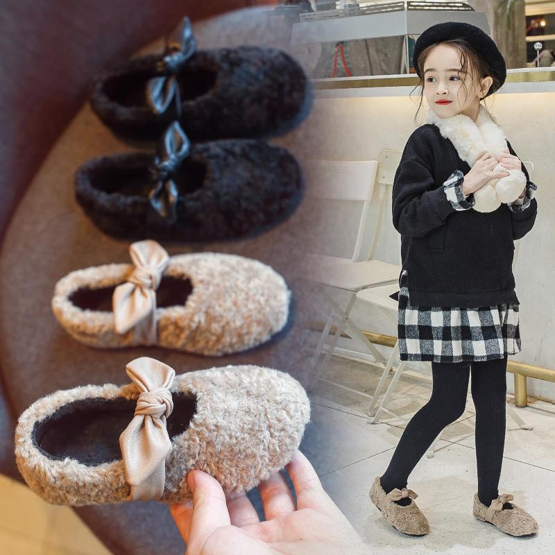 小米步女童鞋秋冬款2018新款儿童加绒棉鞋女孩宝宝公主毛毛豆豆鞋