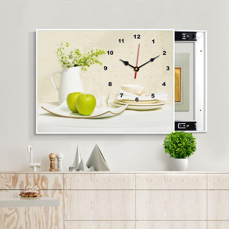 现代客厅免打孔电表箱遮挡装饰画带钟表餐厅推拉简约挂画墙画壁画