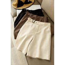 百慕大高腰五分裤 气质显瘦中裤 女士纯色高腰五分裤 A字西装裤
