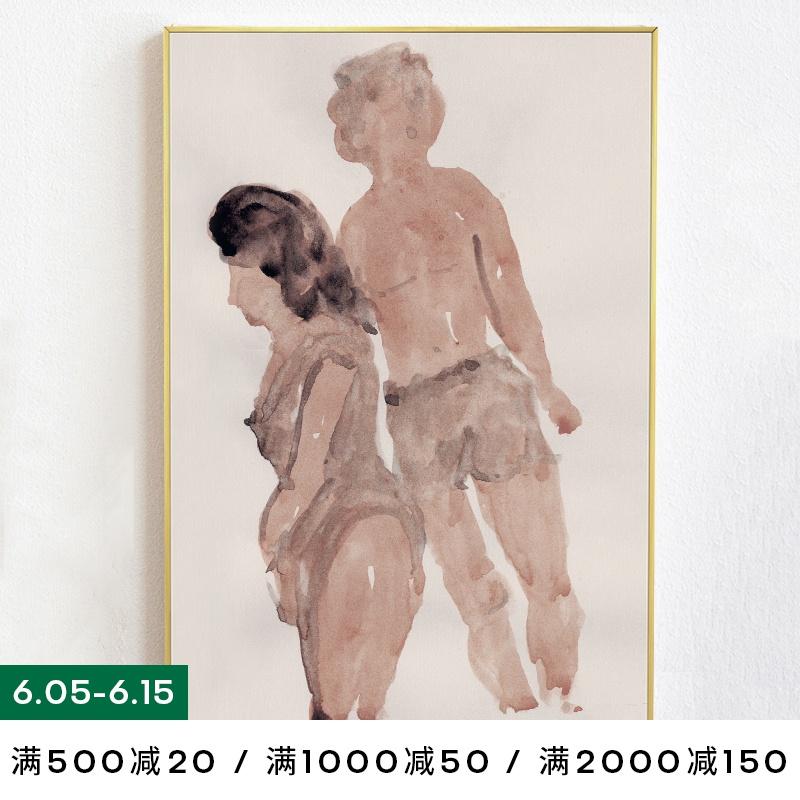 「人群中我留意过你」抽象人物装饰画小众客厅背景墙壁画手绘油画