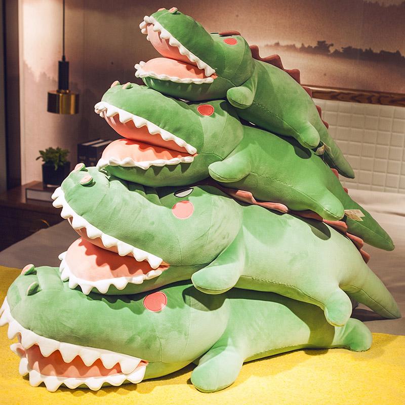 鳄鱼抱枕公仔毛绒玩具睡觉懒人玩偶大号超软女孩枕头娃娃恐龙床上