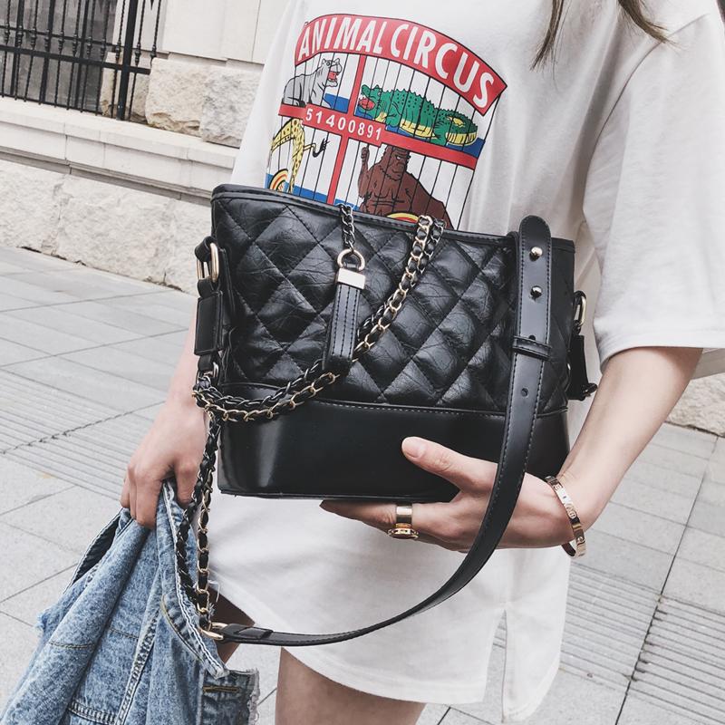 欧美时尚小包包女2018新款潮韩版百搭斜挎单肩链条菱格小香风包包
