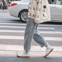 【现货】忠犬(小)八梨形自制复古宽fm12直筒休fs白边牛仔裤女