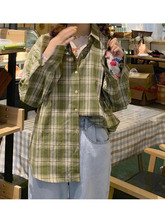 【现货】忠犬(小)八梨形自制格子衬ji12202ge搭衬衫女学生长袖