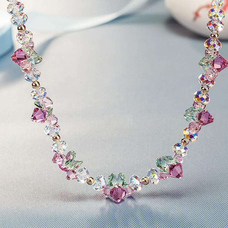 生日礼物送女友采用施华洛元素水晶项链森系颈链挂件百搭清新配饰