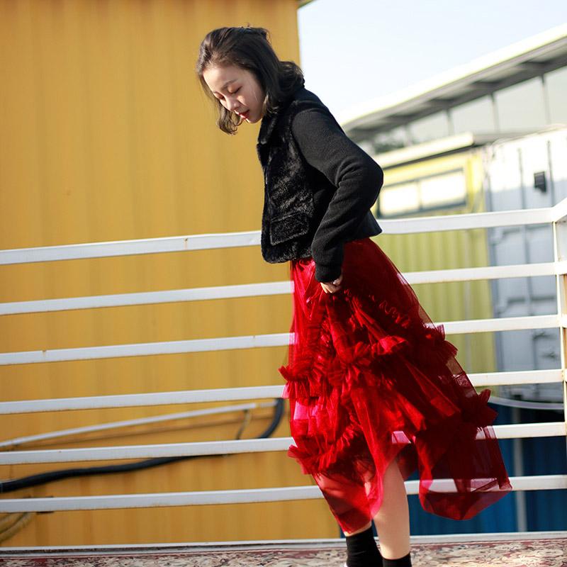 胡斑toohot 重工网纱半身裙 仙女裙chic温柔 褶皱半身裙蛋糕裙