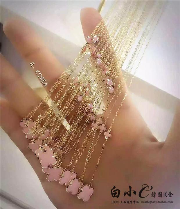 韩国进口纯14K金项链 美爆金边粉色花朵锁骨链 纯金黄金首饰女