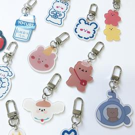 韩国isn卡通可爱小熊钥匙扣 耳机套包包亚克力挂饰 airpods挂件