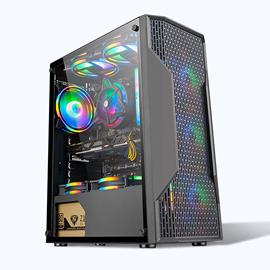 下置独立电源仓防尘DIY宽体台式透明机箱支持240水冷RGB风扇套装