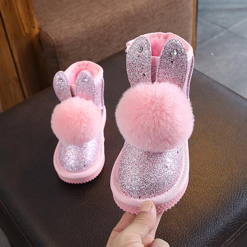 2018冬季新款女童加绒雪地靴卡通毛毛球亮片兔耳朵公主靴保暖棉鞋