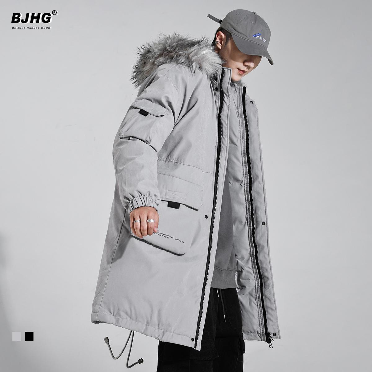 BJHG冬季中长款毛领连帽棉衣男潮牌防风宽松加厚保暖工装情侣棉袄
