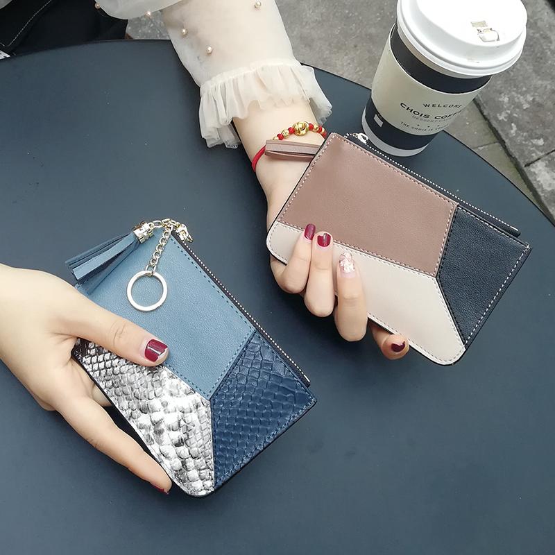 真皮零钱包女硬币包韩版可爱简约超薄ins短款小钱包2018新款时尚