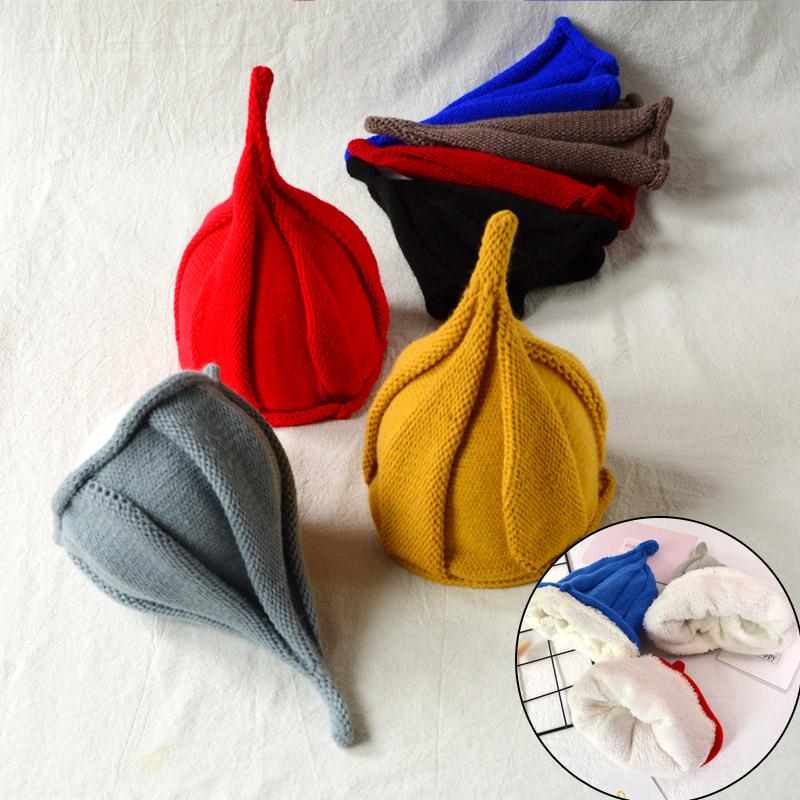 儿童毛线帽子男女宝宝秋冬针织帽护耳加厚尖尖巫师帽小孩亲子帽潮