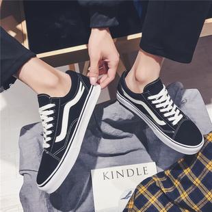 男鞋子潮鞋脏脏万斯能帆布鞋男生低帮黑色百搭韩版休闲滑板鞋男士图片