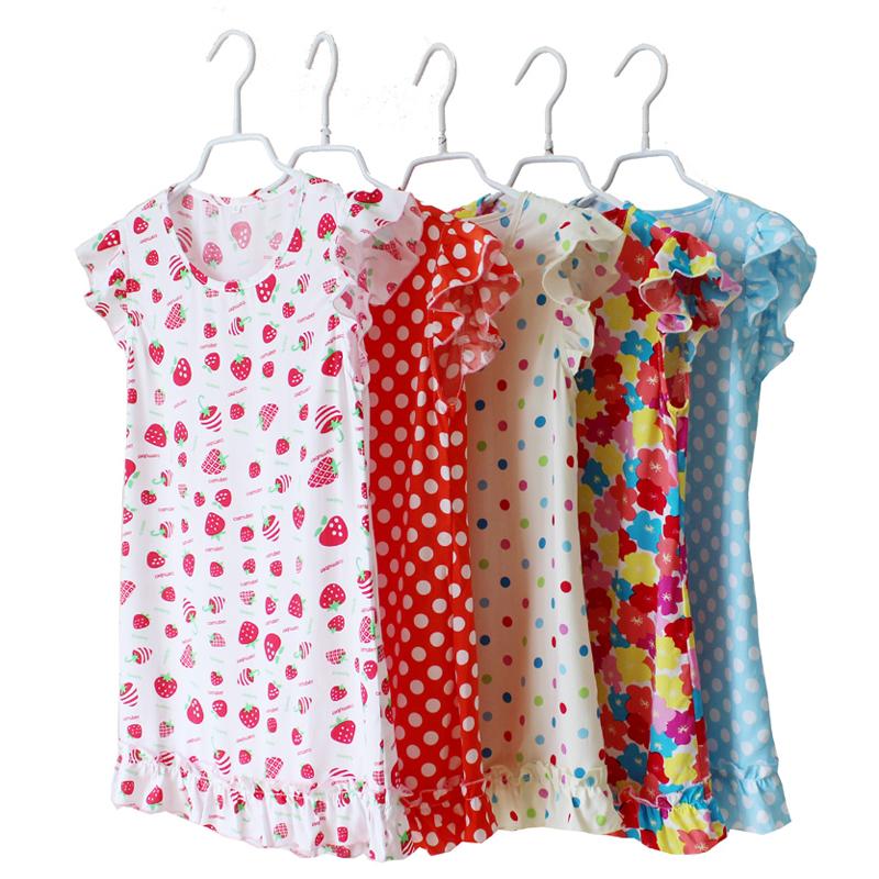 儿童棉绸睡裙 女宝宝大童亲子薄棉夏款人造棉短袖连衣裙母女睡裙