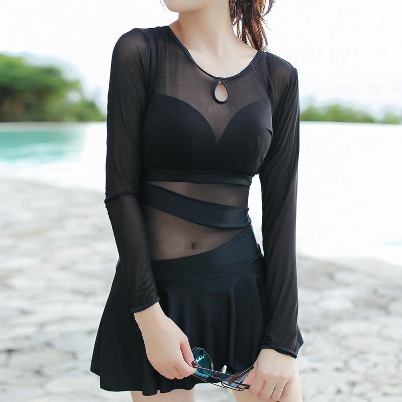 长袖连体大码泳衣女士仙女范可爱日系韩国ins遮肚显瘦保守游泳装