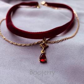 晶家原创手作酒红色丝绒复古气质锁骨项链颈饰颈圈choker项圈颈链