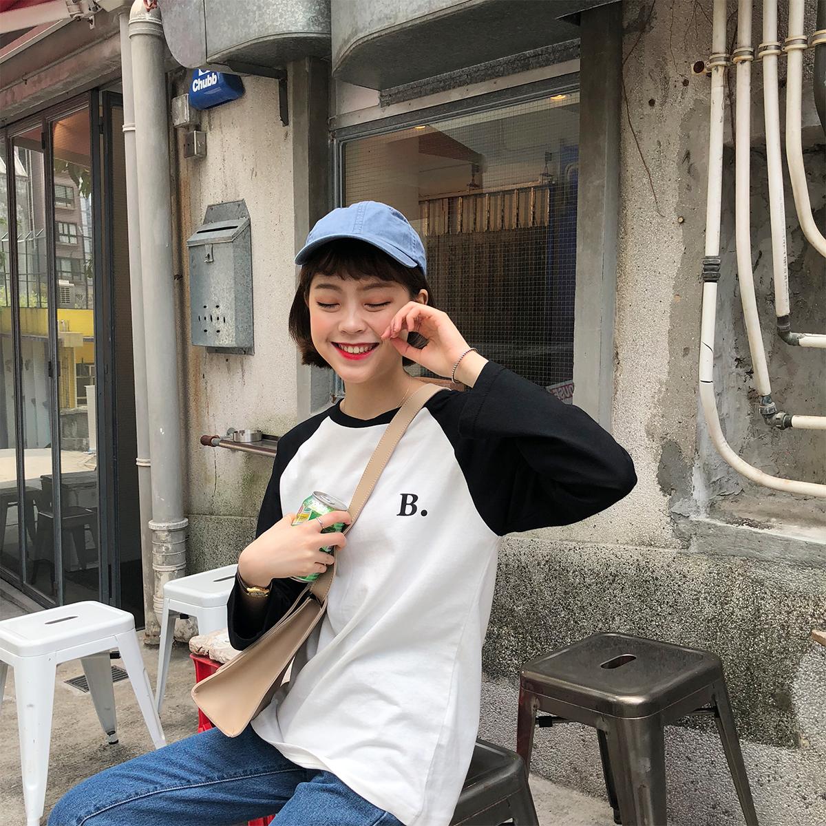 陆小团团 2018春新款打底衫韩版百搭圆领插肩双色拼接长袖T恤女。