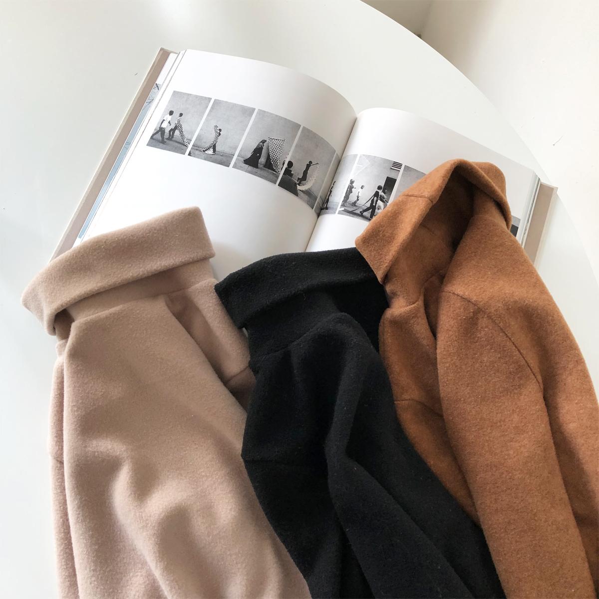 陆小团团 冬季韩版基础百搭舒适纯色高领呢子内搭打底衫T恤上衣女
