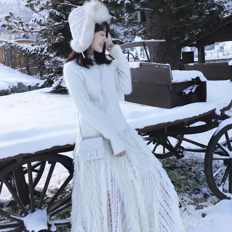 「卢洁云」CARIEDO2017冬新款女中长款仙气质蕾丝拼接流苏半身裙